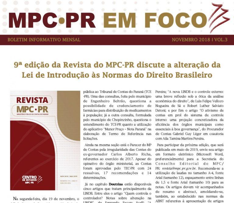 Boletim Informativo MPC-PR em Foco dezembro/2018