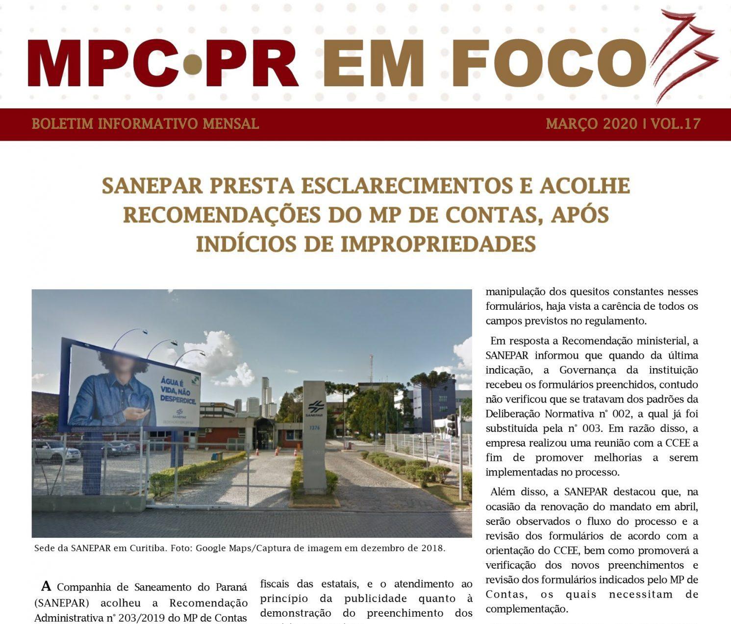Boletim Informativo MPC-PR em Foco março/2020