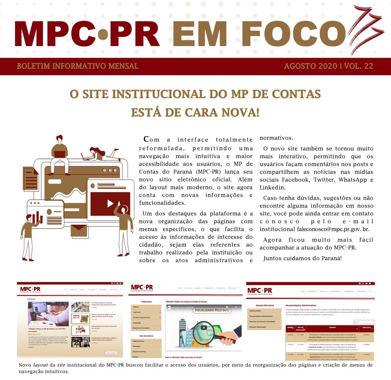 Boletim Informativo MPC-PR em Foco agosto/2020