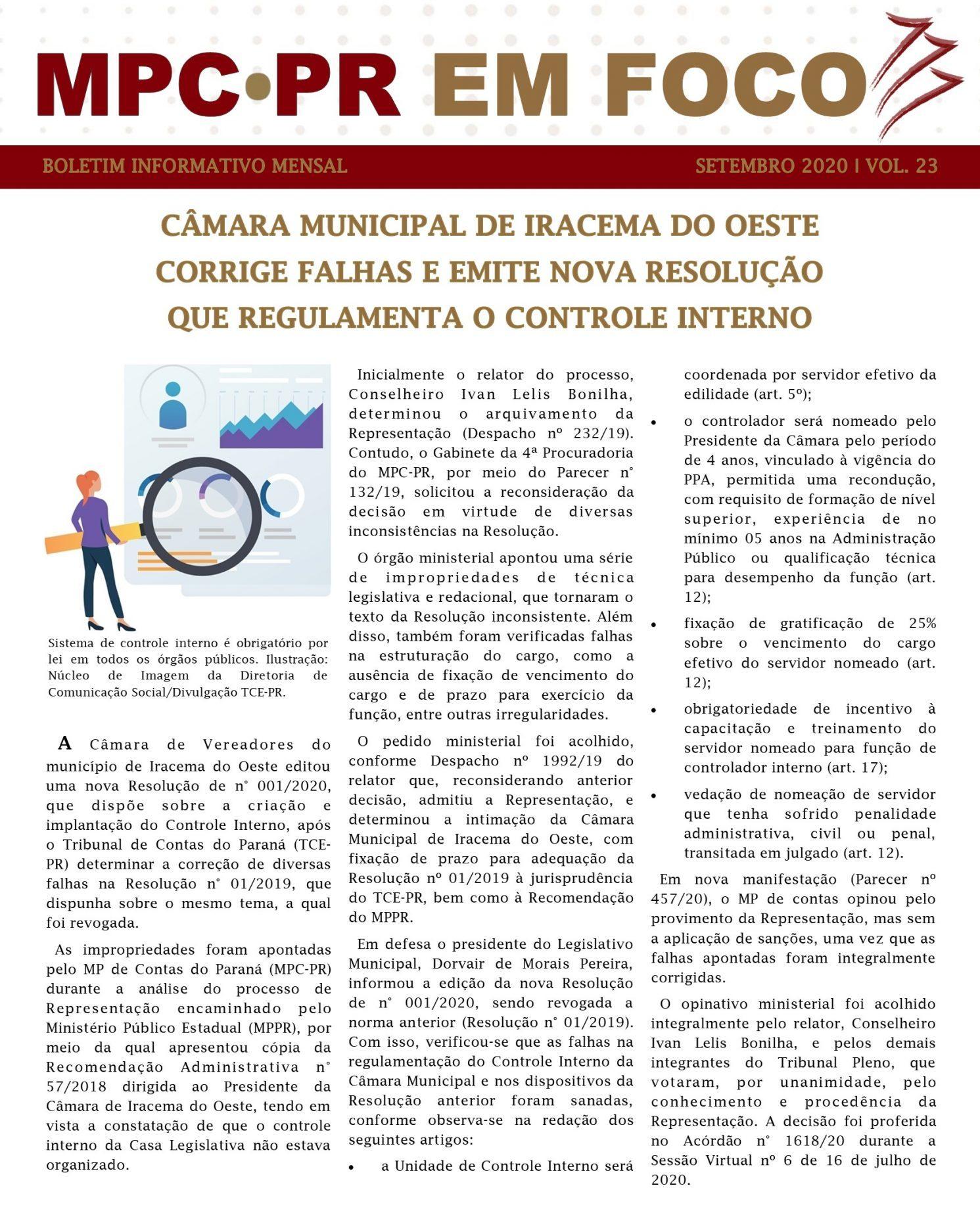 Boletim Informativo MPC-PR em Foco setembro/2020