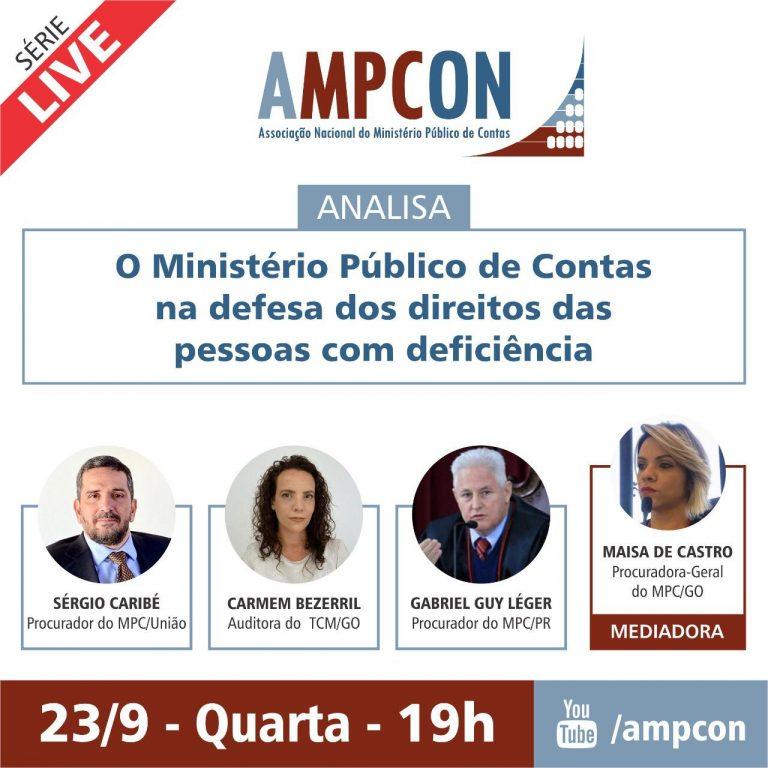 """AMPCON discute em live """"O Ministério Público de Contas na defesa dos direitos das pessoas com deficiência"""""""