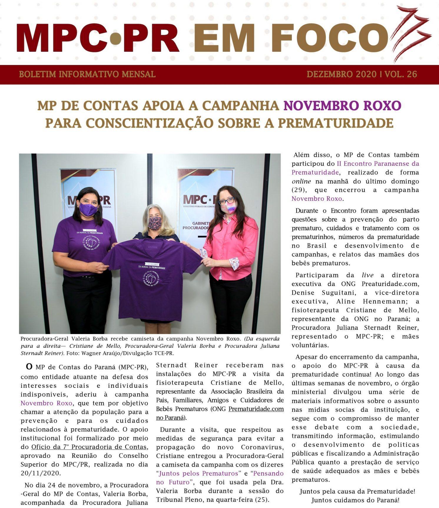 Boletim Informativo MPC-PR em Foco dezembro/2020