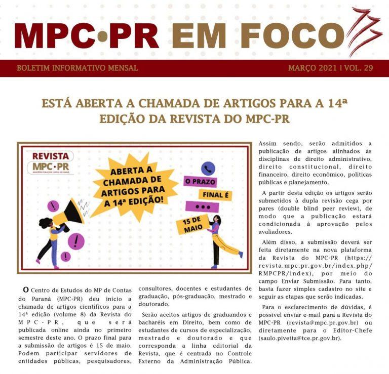 Boletim Informativo MPC-PR em Foco março/2021