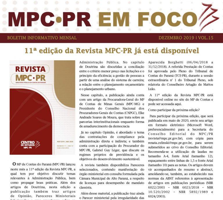 Boletim Informativo MPC-PR em Foco dezembro/2019