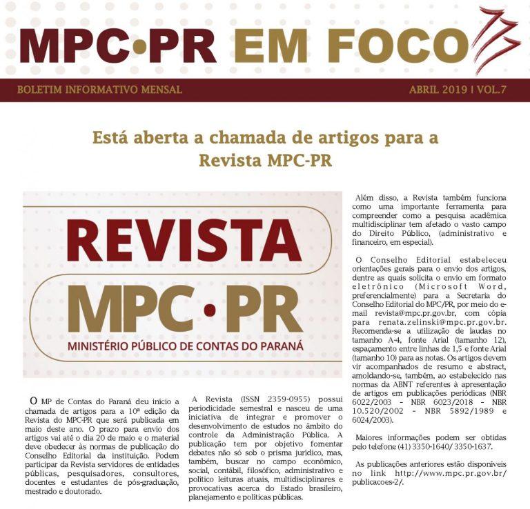 Boletim Informativo MPC-PR em Foco abril/2019