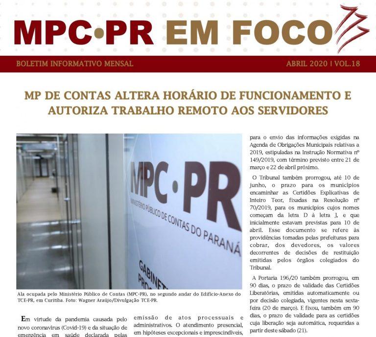 Boletim Informativo MPC-PR em Foco abril/2020