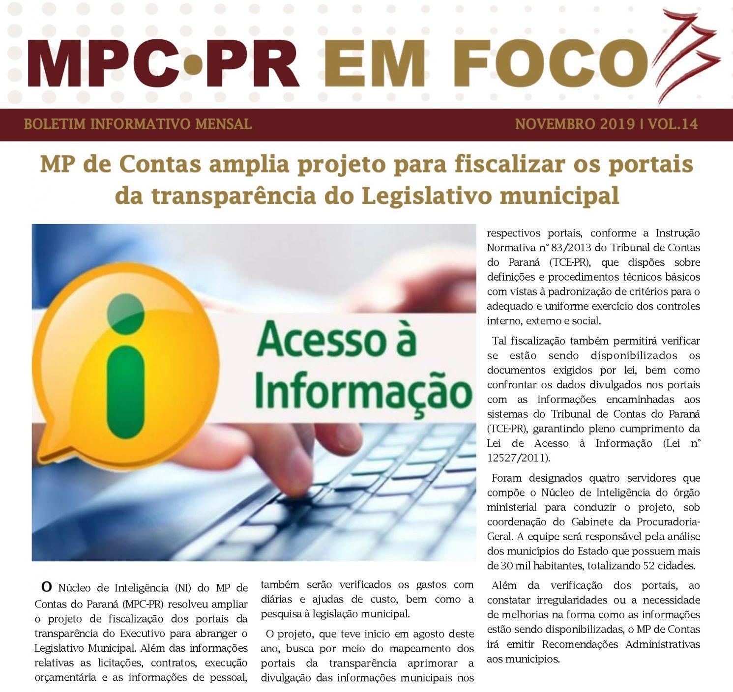Boletim Informativo MPC-PR em Foco novembro/2019