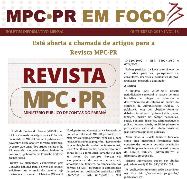 Boletim Informativo MPC-PR em Foco outubro/2019