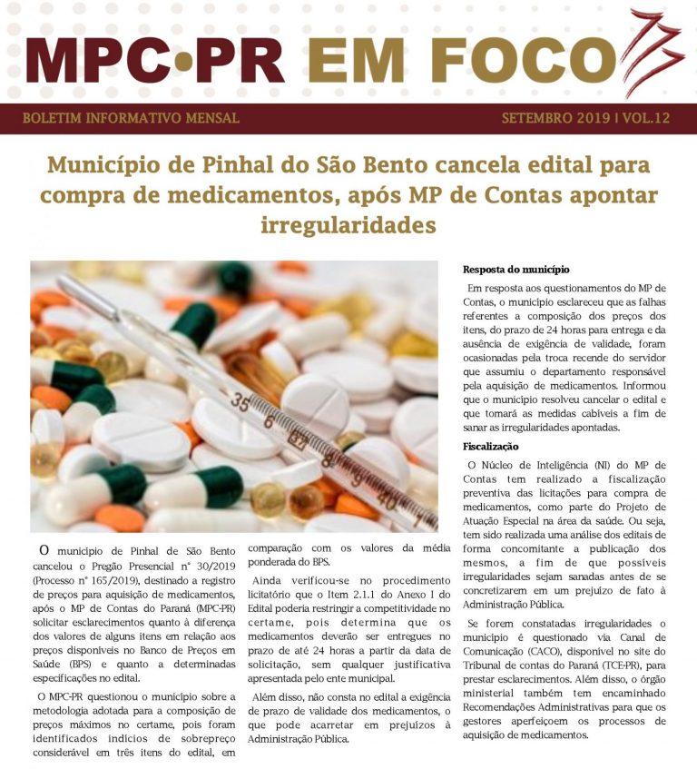 Boletim Informativo MPC-PR em Foco setembro/2019