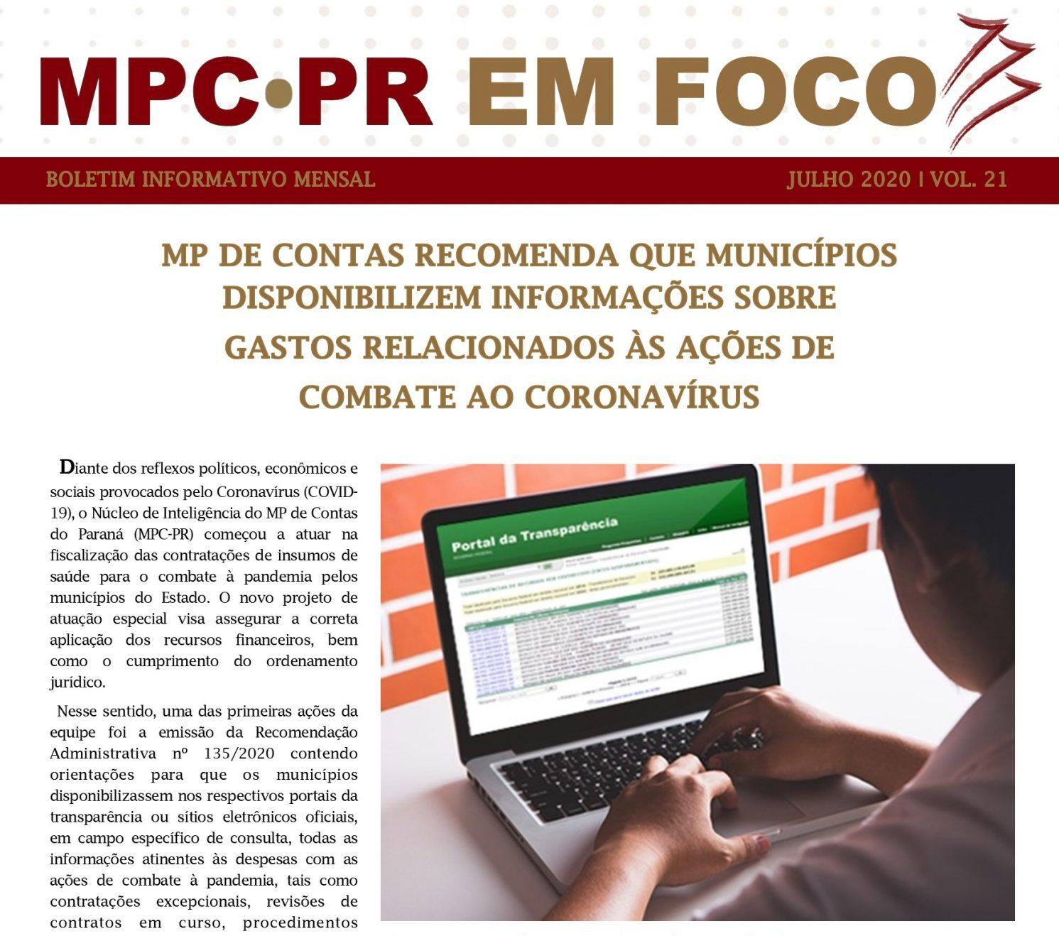 Boletim Informativo MPC-PR em Foco julho/2020