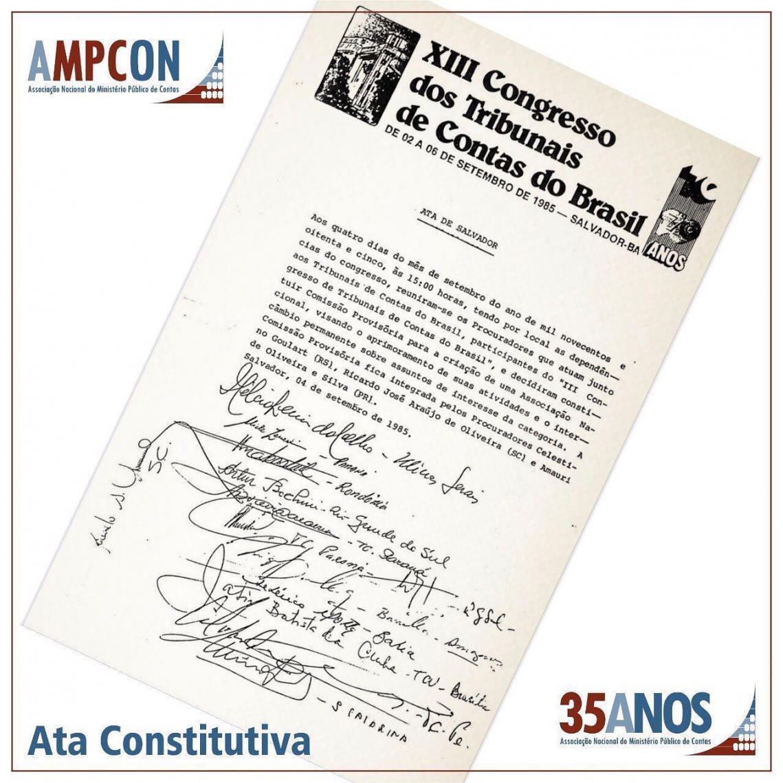 Associação do Ministério Público de Contas completa 35 anos de história