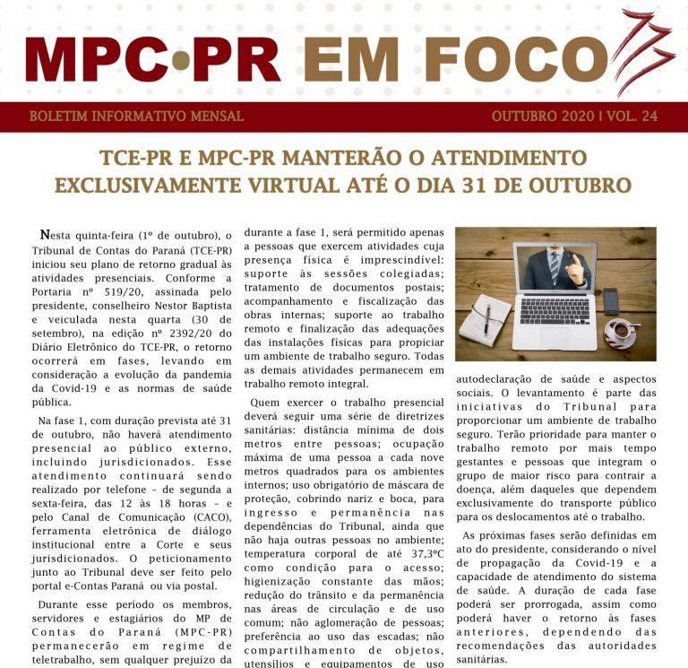 Boletim Informativo MPC-PR em Foco outubro/2020