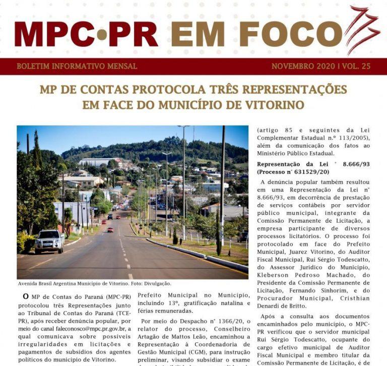 Boletim Informativo MPC-PR em Foco novembro/2020