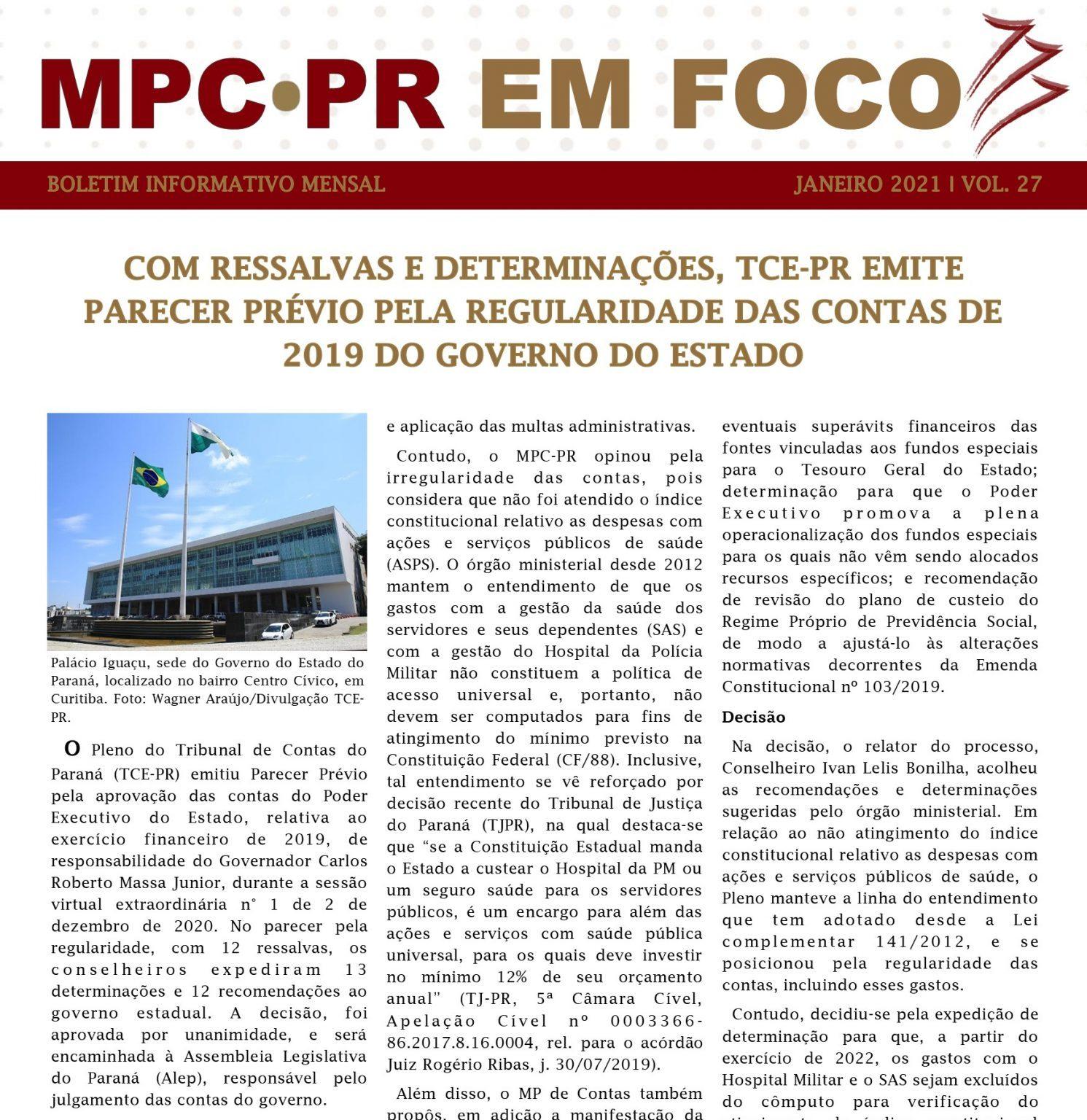 Boletim Informativo MPC-PR em Foco janeiro/2021