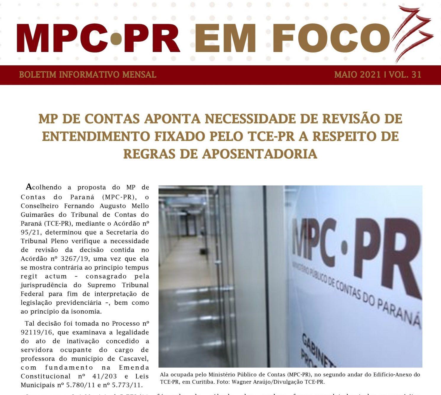 Boletim Informativo MPC-PR em Foco maio/2021