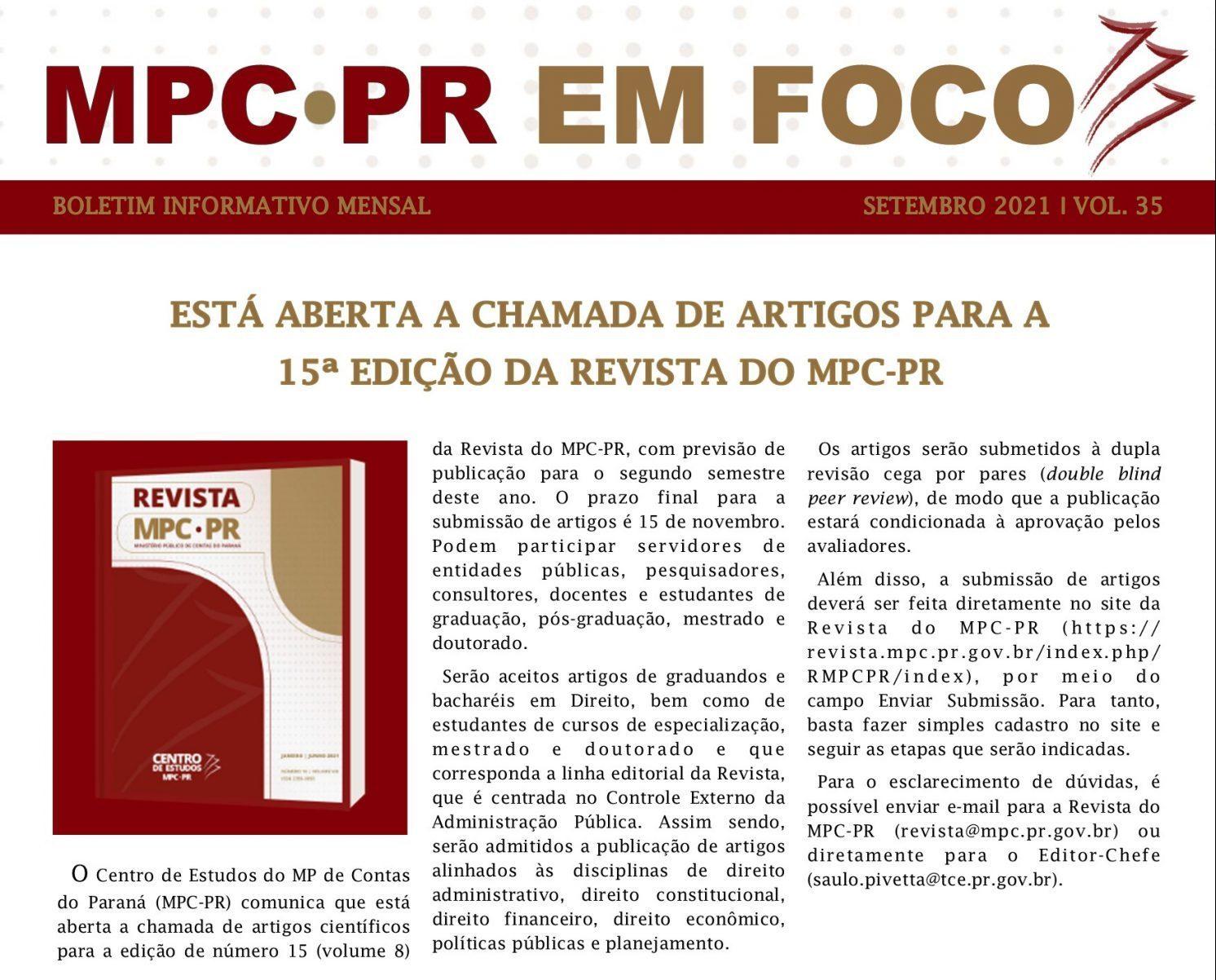 Boletim Informativo MPC-PR em Foco setembro/2021