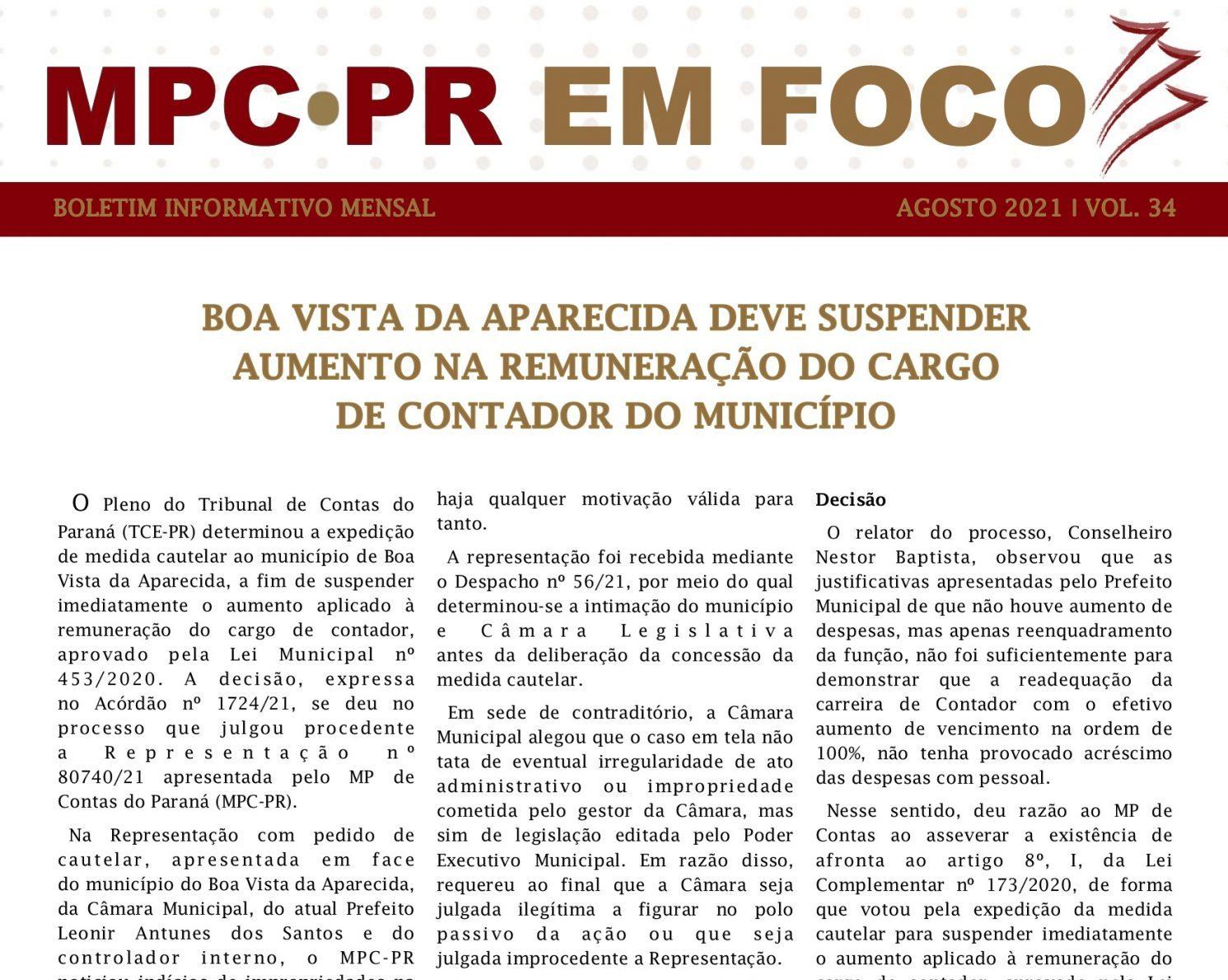 Boletim Informativo MPC-PR em Foco agosto/2021