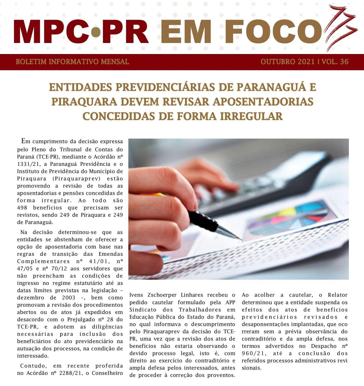 Boletim Informativo MPC-PR em Foco outubro/2021